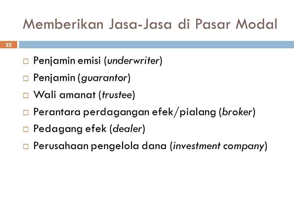 Memberikan Jasa-Jasa di Pasar Modal 23  Penjamin emisi (underwriter)  Penjamin (guarantor)  Wali amanat (trustee)  Perantara perdagangan efek/pial