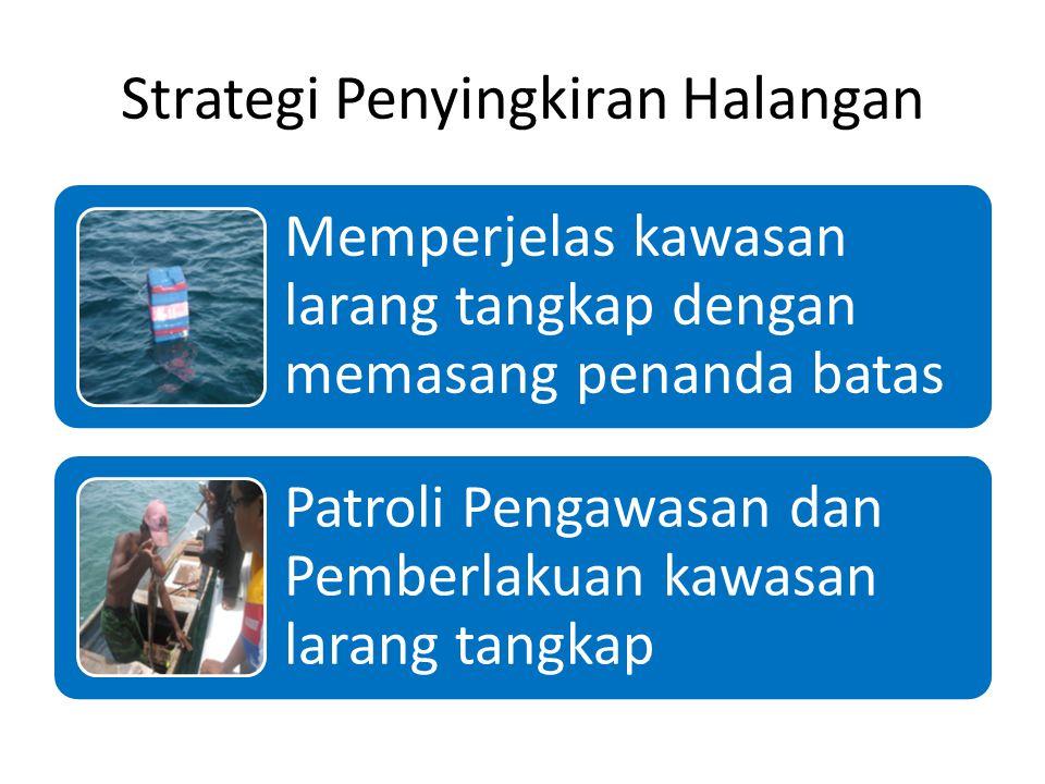Strategi Penyingkiran Halangan Memperjelas kawasan larang tangkap dengan memasang penanda batas Patroli Pengawasan dan Pemberlakuan kawasan larang tangkap