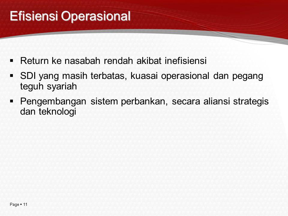 Page  11 Efisiensi Operasional  Return ke nasabah rendah akibat inefisiensi  SDI yang masih terbatas, kuasai operasional dan pegang teguh syariah 