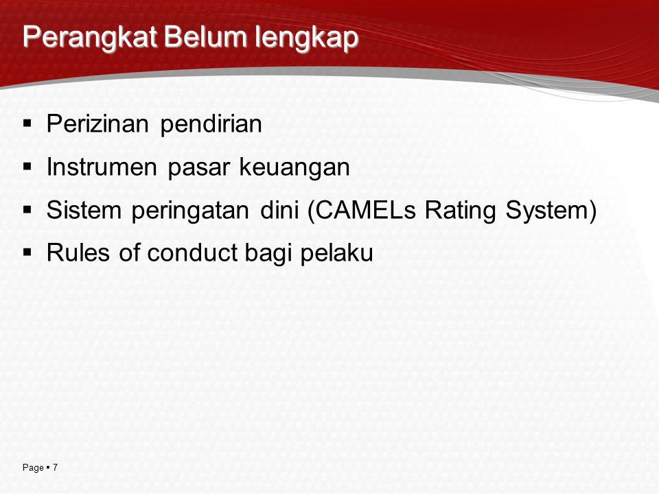 Page  7 Perangkat Belum lengkap  Perizinan pendirian  Instrumen pasar keuangan  Sistem peringatan dini (CAMELs Rating System)  Rules of conduct b