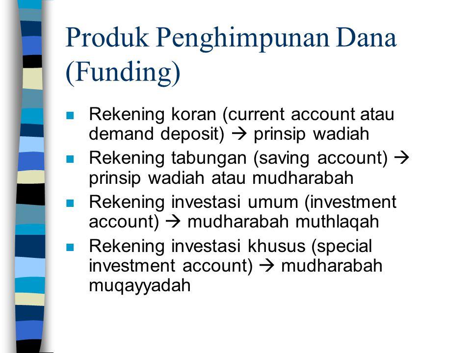 Produk Penghimpunan Dana (Funding) n Rekening koran (current account atau demand deposit)  prinsip wadiah n Rekening tabungan (saving account)  prin