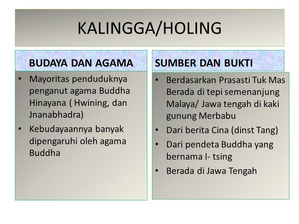 KALINGGA/HOLING BUDAYA DAN AGAMA Mayoritas penduduknya penganut agama Buddha Hinayana ( Hwining, dan Jnanabhadra) Kebudayaannya banyak dipengaruhi ole