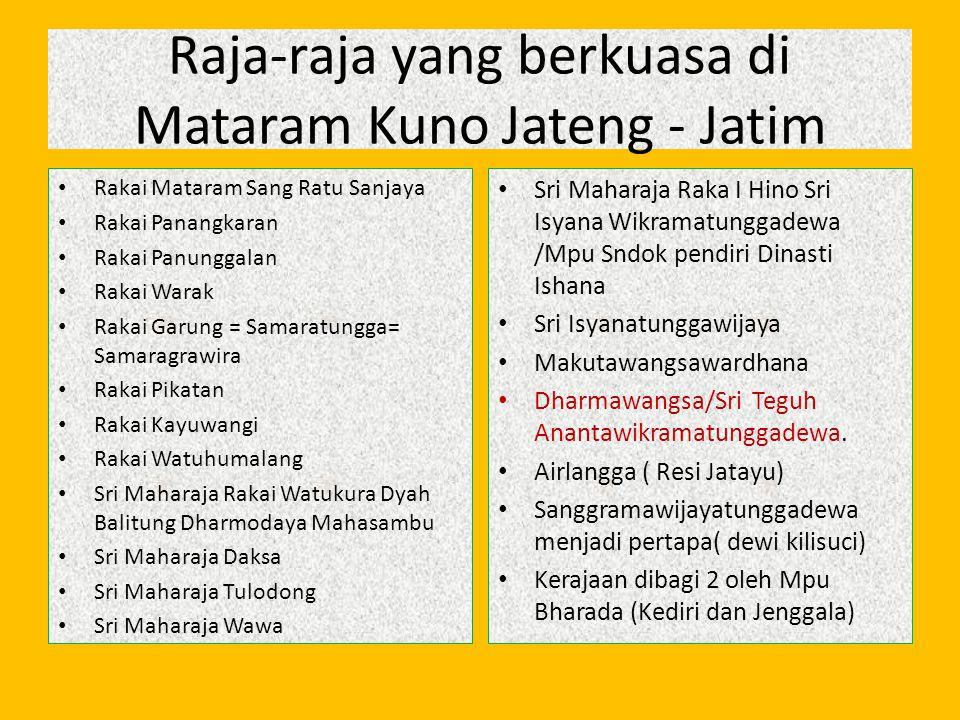Raja-raja yang berkuasa di Mataram Kuno Jateng - Jatim Rakai Mataram Sang Ratu Sanjaya Rakai Panangkaran Rakai Panunggalan Rakai Warak Rakai Garung =