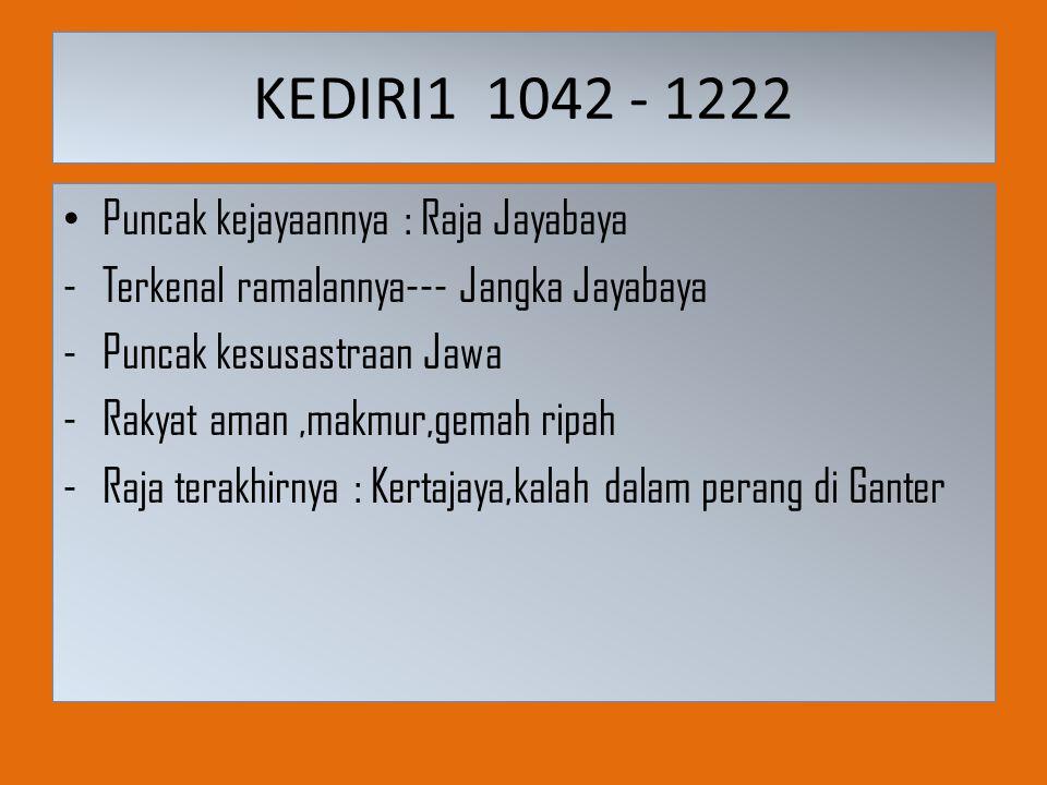 KEDIRI1 1042 - 1222 Puncak kejayaannya : Raja Jayabaya -Terkenal ramalannya--- Jangka Jayabaya -Puncak kesusastraan Jawa -Rakyat aman,makmur,gemah rip