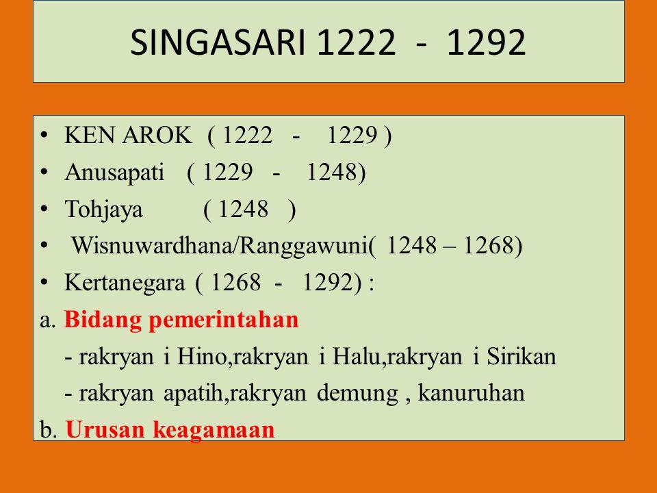SINGASARI 1222 - 1292 KEN AROK ( 1222 - 1229 ) Anusapati ( 1229 - 1248) Tohjaya ( 1248 ) Wisnuwardhana/Ranggawuni( 1248 – 1268) Kertanegara ( 1268 - 1