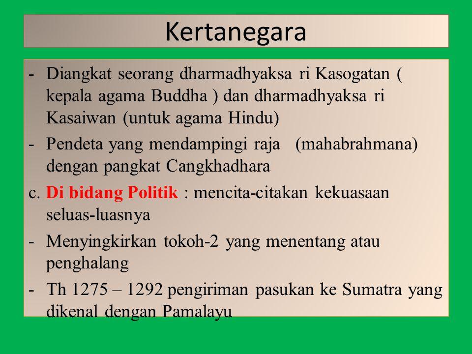 Kertanegara -Diangkat seorang dharmadhyaksa ri Kasogatan ( kepala agama Buddha ) dan dharmadhyaksa ri Kasaiwan (untuk agama Hindu) -Pendeta yang menda