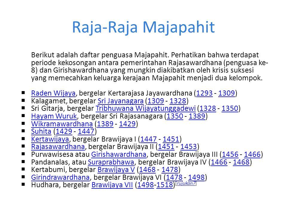 Raja-Raja Majapahit Berikut adalah daftar penguasa Majapahit. Perhatikan bahwa terdapat periode kekosongan antara pemerintahan Rajasawardhana (penguas