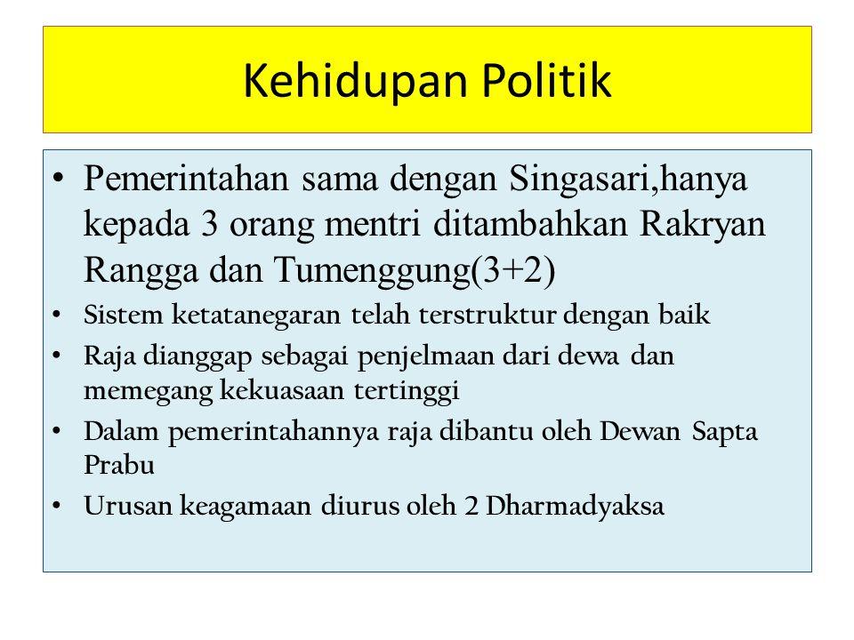 Kehidupan Politik Pemerintahan sama dengan Singasari,hanya kepada 3 orang mentri ditambahkan Rakryan Rangga dan Tumenggung(3+2) Sistem ketatanegaran t