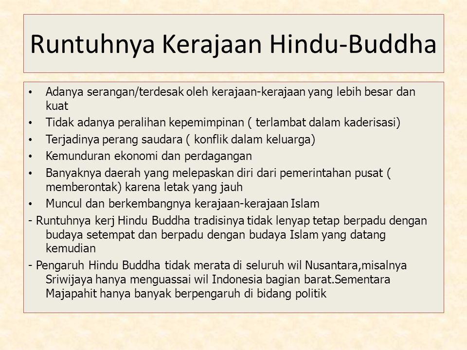 Runtuhnya Kerajaan Hindu-Buddha Adanya serangan/terdesak oleh kerajaan-kerajaan yang lebih besar dan kuat Tidak adanya peralihan kepemimpinan ( terlam