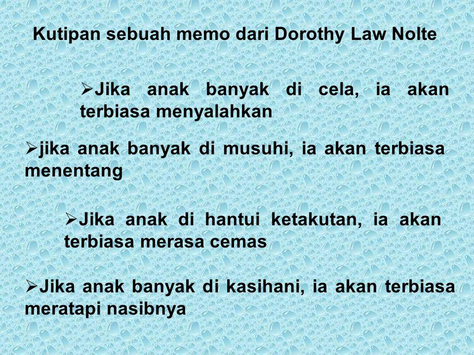 Kutipan sebuah memo dari Dorothy Law Nolte JJika anak banyak di cela, ia akan terbiasa menyalahkan jjika anak banyak di musuhi, ia akan terbiasa m