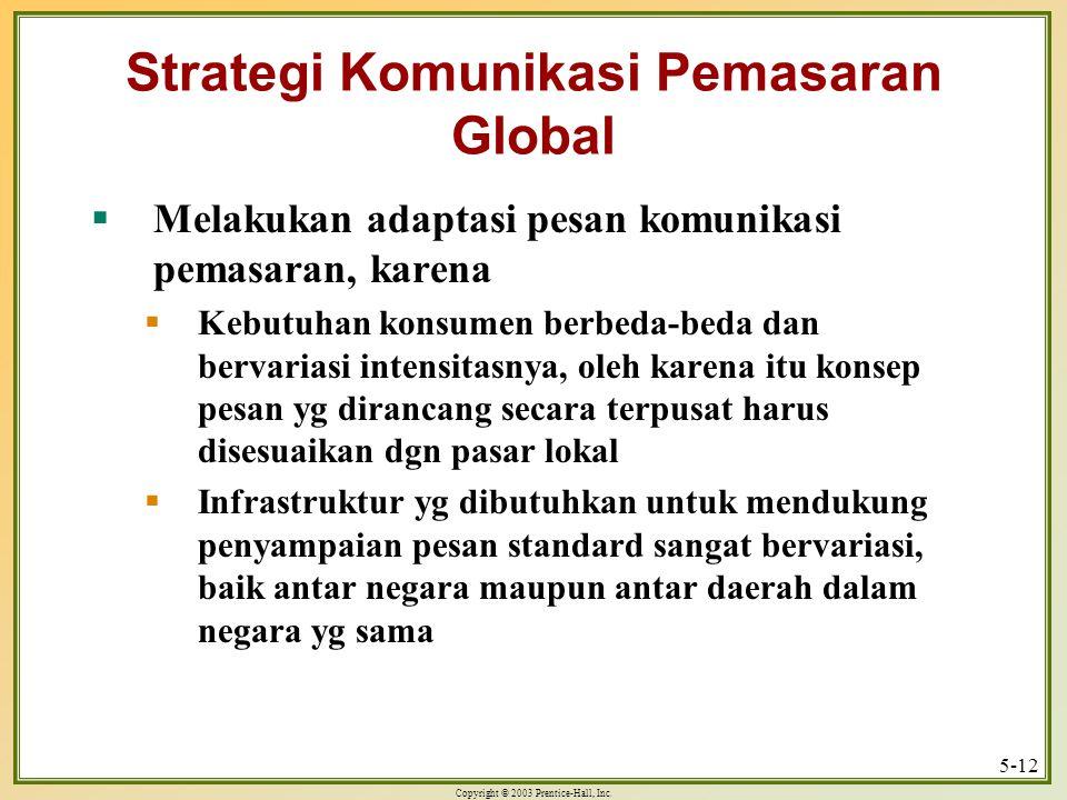 Copyright © 2003 Prentice-Hall, Inc. 5-12 Strategi Komunikasi Pemasaran Global  Melakukan adaptasi pesan komunikasi pemasaran, karena  Kebutuhan kon