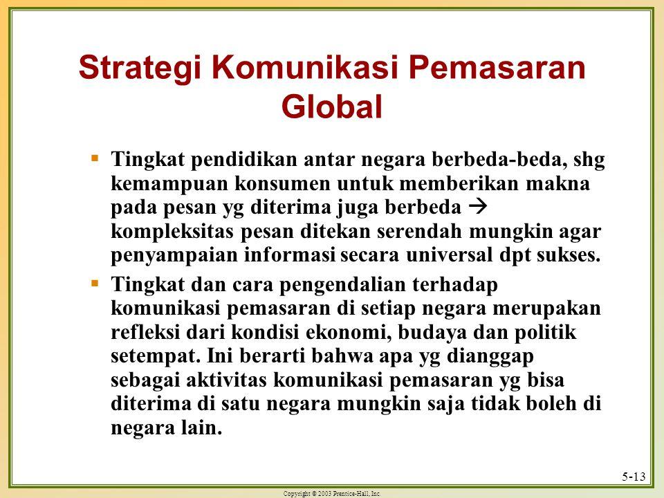 Copyright © 2003 Prentice-Hall, Inc. 5-13 Strategi Komunikasi Pemasaran Global  Tingkat pendidikan antar negara berbeda-beda, shg kemampuan konsumen