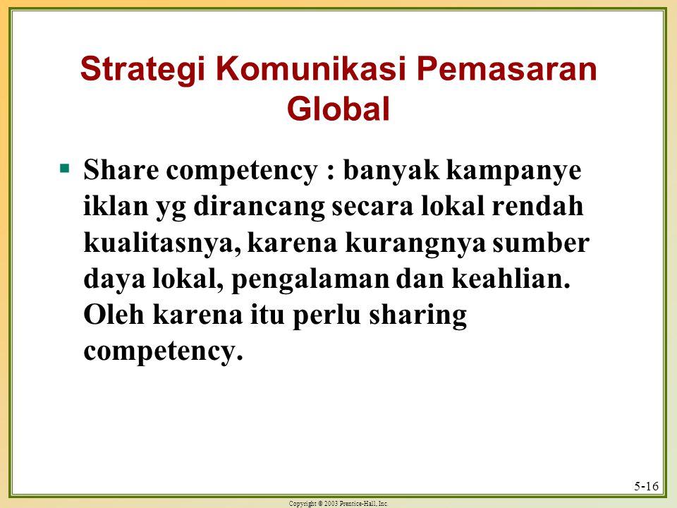 Copyright © 2003 Prentice-Hall, Inc. 5-16 Strategi Komunikasi Pemasaran Global  Share competency : banyak kampanye iklan yg dirancang secara lokal re