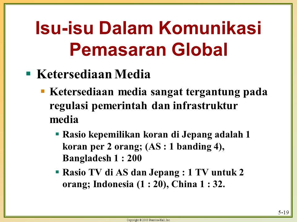 Copyright © 2003 Prentice-Hall, Inc. 5-19 Isu-isu Dalam Komunikasi Pemasaran Global  Ketersediaan Media  Ketersediaan media sangat tergantung pada r