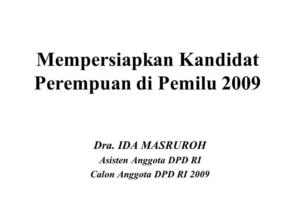 Mempersiapkan Kandidat Perempuan di Pemilu 2009 Dra. IDA MASRUROH Asisten Anggota DPD RI Calon Anggota DPD RI 2009