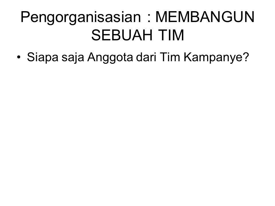 Pengorganisasian : MEMBANGUN SEBUAH TIM Siapa saja Anggota dari Tim Kampanye?