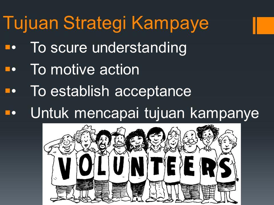 Tujuan Strategi Kampaye To scure understanding To motive action To establish acceptance Untuk mencapai tujuan kampanye