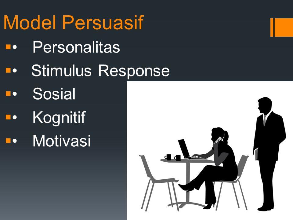 Model Persuasif Personalitas  Stimulus Response Sosial Kognitif Motivasi