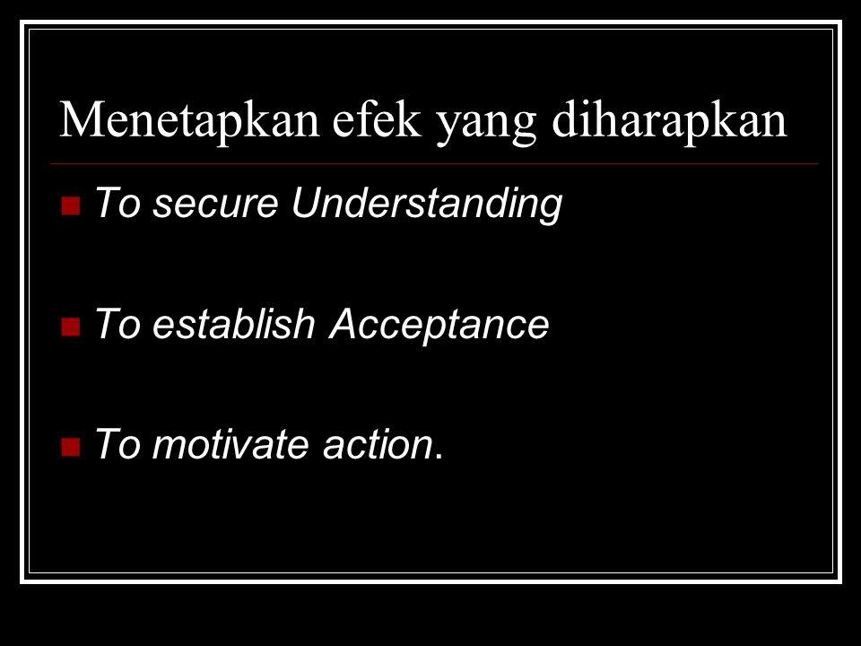 Menetapkan efek yang diharapkan To secure Understanding To establish Acceptance To motivate action.
