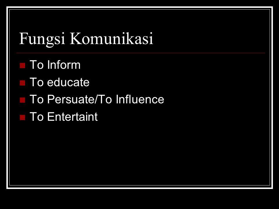 Fungsi Komunikasi To Inform To educate To Persuate/To Influence To Entertaint