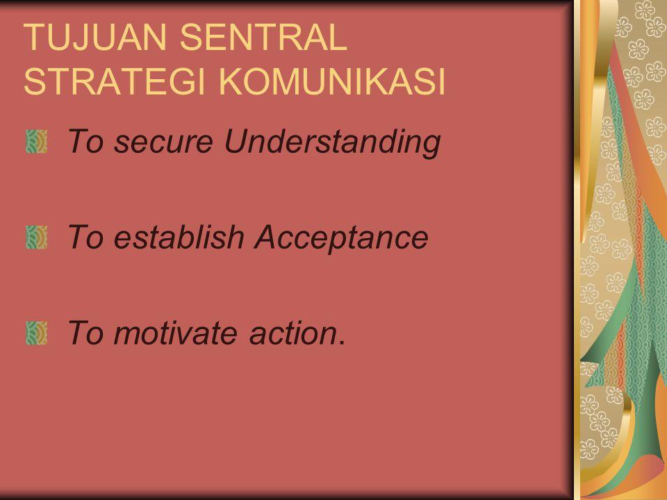 TUJUAN SENTRAL STRATEGI KOMUNIKASI To secure Understanding To establish Acceptance To motivate action.