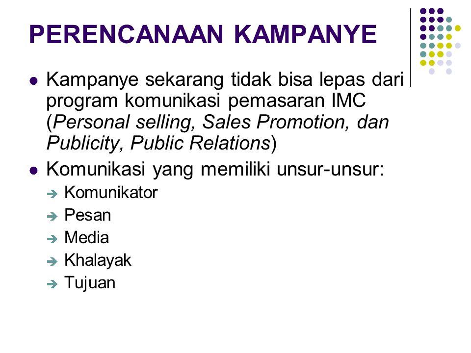 PERENCANAAN KAMPANYE Kampanye sekarang tidak bisa lepas dari program komunikasi pemasaran IMC (Personal selling, Sales Promotion, dan Publicity, Publi