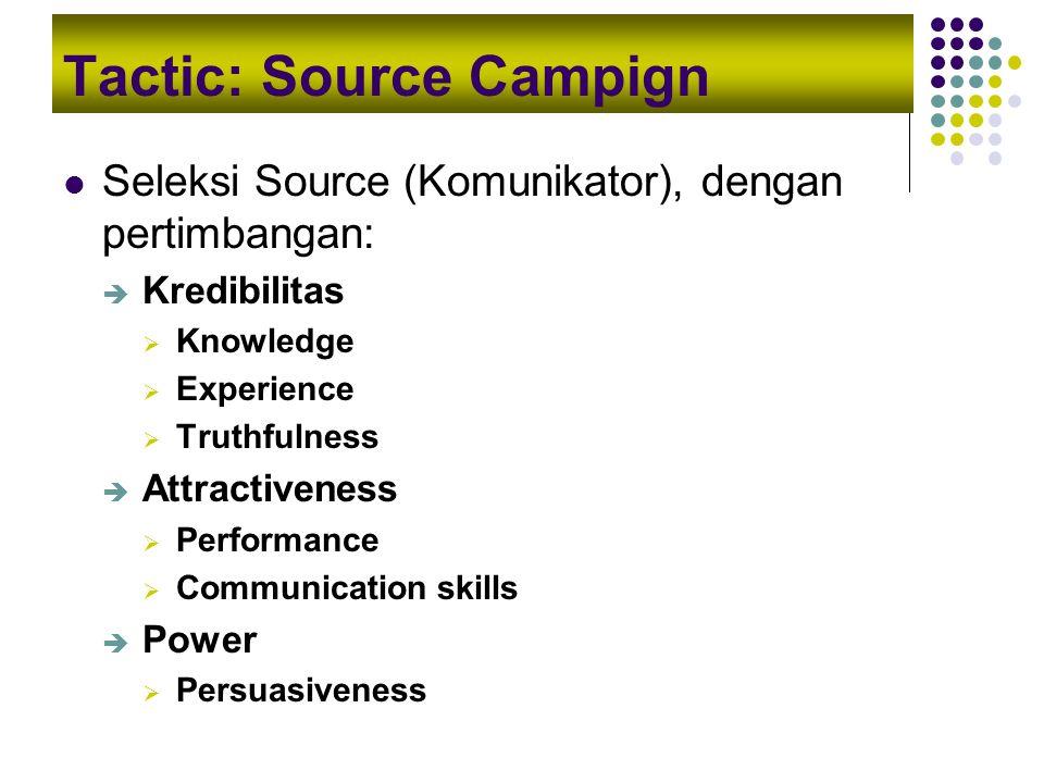 Tactic: Source Campign Seleksi Source (Komunikator), dengan pertimbangan:  Kredibilitas  Knowledge  Experience  Truthfulness  Attractiveness  Pe
