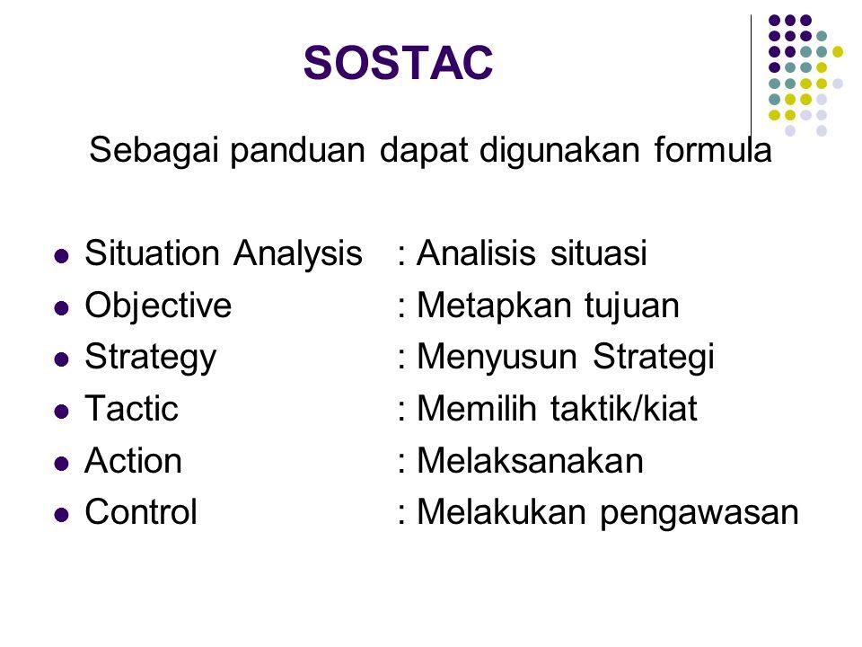 Sebagai panduan dapat digunakan formula Situation Analysis : Analisis situasi Objective: Metapkan tujuan Strategy: Menyusun Strategi Tactic: Memilih t