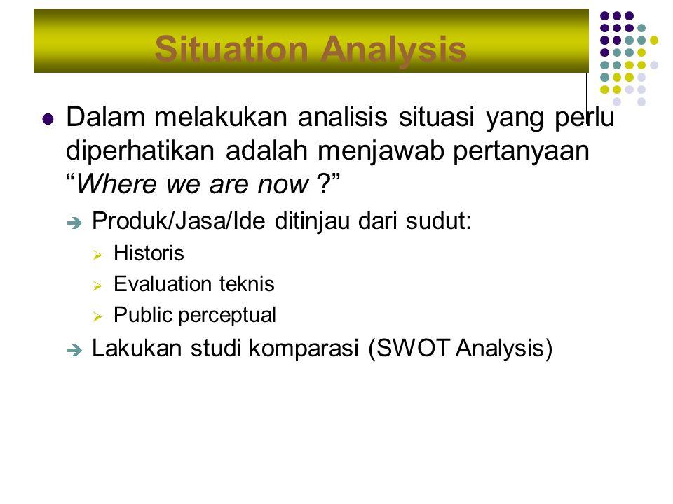 """Situation Analysis Dalam melakukan analisis situasi yang perlu diperhatikan adalah menjawab pertanyaan """"Where we are now ?""""  Produk/Jasa/Ide ditinjau"""