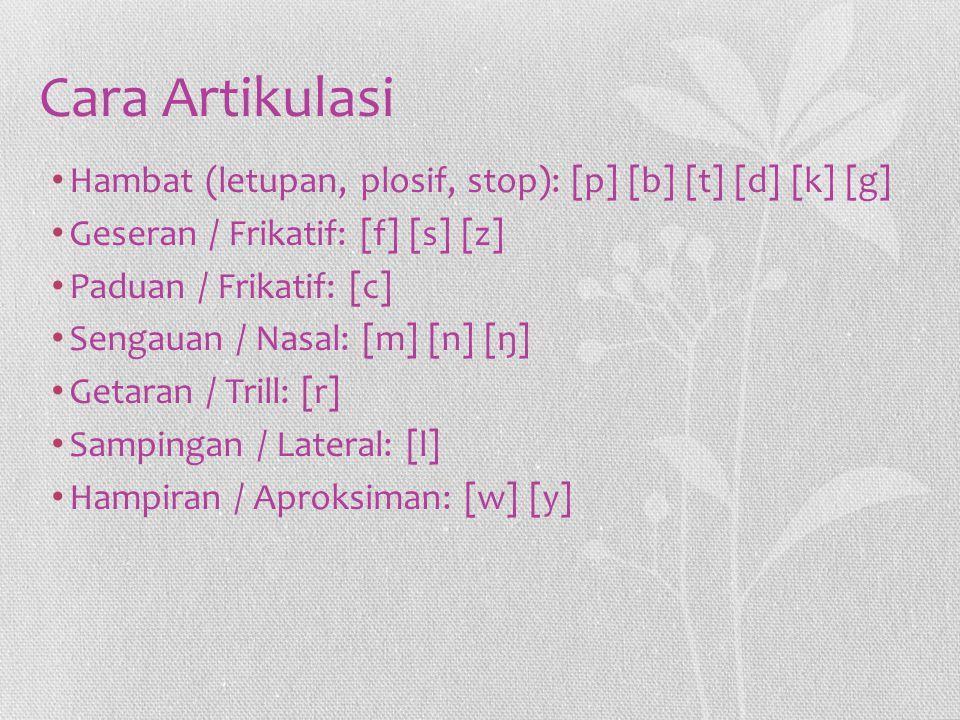 Cara Artikulasi Hambat (letupan, plosif, stop): [p] [b] [t] [d] [k] [g] Geseran / Frikatif: [f] [s] [z] Paduan / Frikatif: [c] Sengauan / Nasal: [m] [