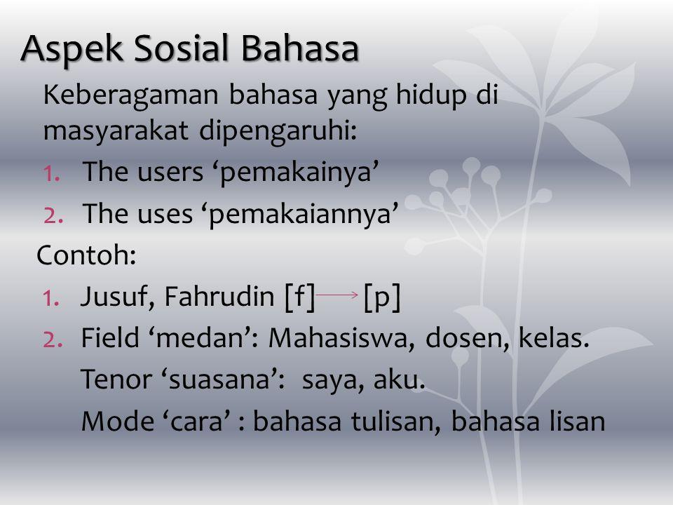 Aspek Sosial Bahasa Keberagaman bahasa yang hidup di masyarakat dipengaruhi: 1.The users 'pemakainya' 2.The uses 'pemakaiannya' Contoh: 1.Jusuf, Fahru