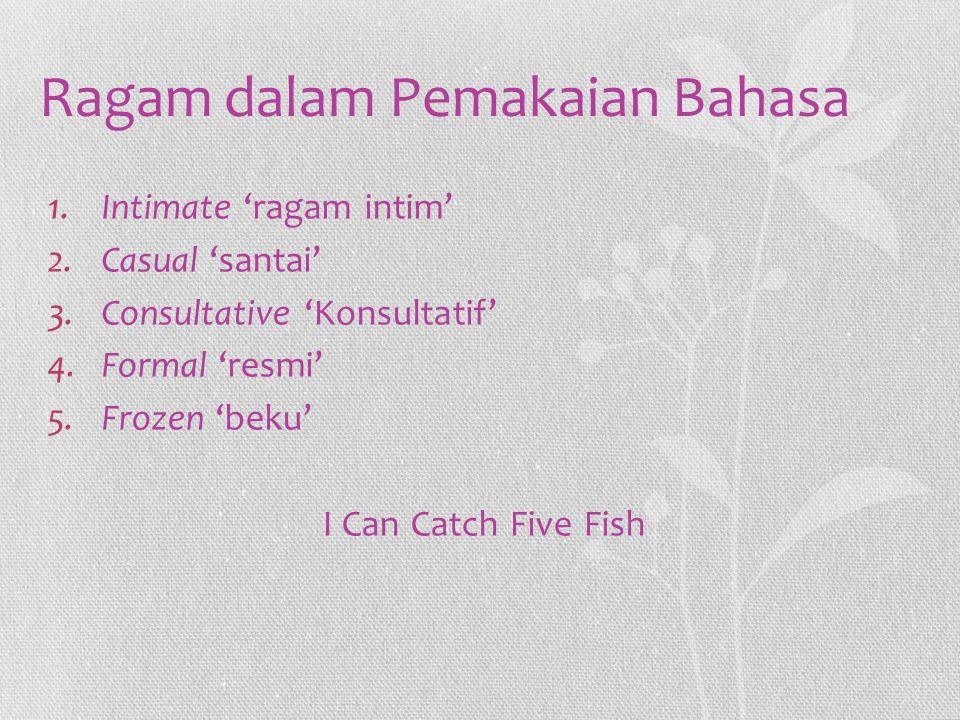 Ragam dalam Pemakaian Bahasa 1.Intimate 'ragam intim' 2.Casual 'santai' 3.Consultative 'Konsultatif' 4.Formal 'resmi' 5.Frozen 'beku' I Can Catch Five