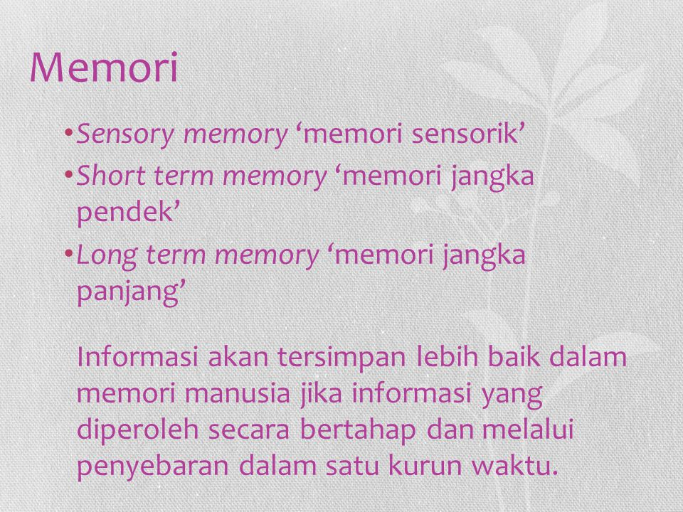 Memori Sensory memory 'memori sensorik' Short term memory 'memori jangka pendek' Long term memory 'memori jangka panjang' Informasi akan tersimpan leb