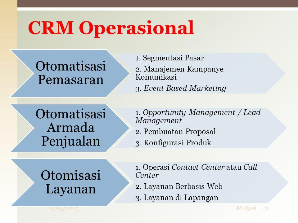 CRM Operasional Otomatisasi Pemasaran 1. Segmentasi Pasar 2. Manajemen Kampanye Komunikasi 3. Event Based Marketing Otomatisasi Armada Penjualan 1. Op
