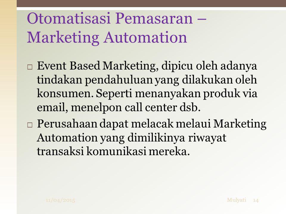  Event Based Marketing, dipicu oleh adanya tindakan pendahuluan yang dilakukan oleh konsumen. Seperti menanyakan produk via email, menelpon call cent