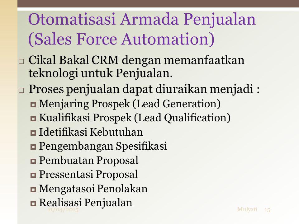  Cikal Bakal CRM dengan memanfaatkan teknologi untuk Penjualan.  Proses penjualan dapat diuraikan menjadi :  Menjaring Prospek (Lead Generation) 