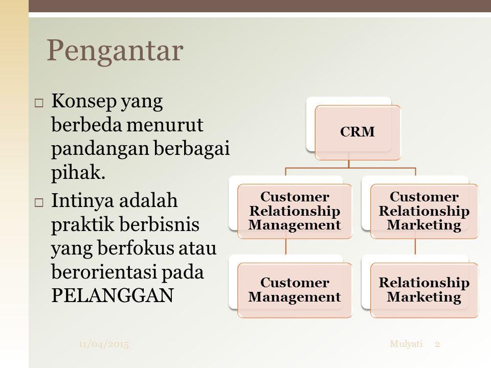 Tipe / variasi CRM  Operasional CRM  Operasional CRM menyediakan dukungan pada front office proses bisnis yang meliputi penjualan, pemasaran dan pelayanan.