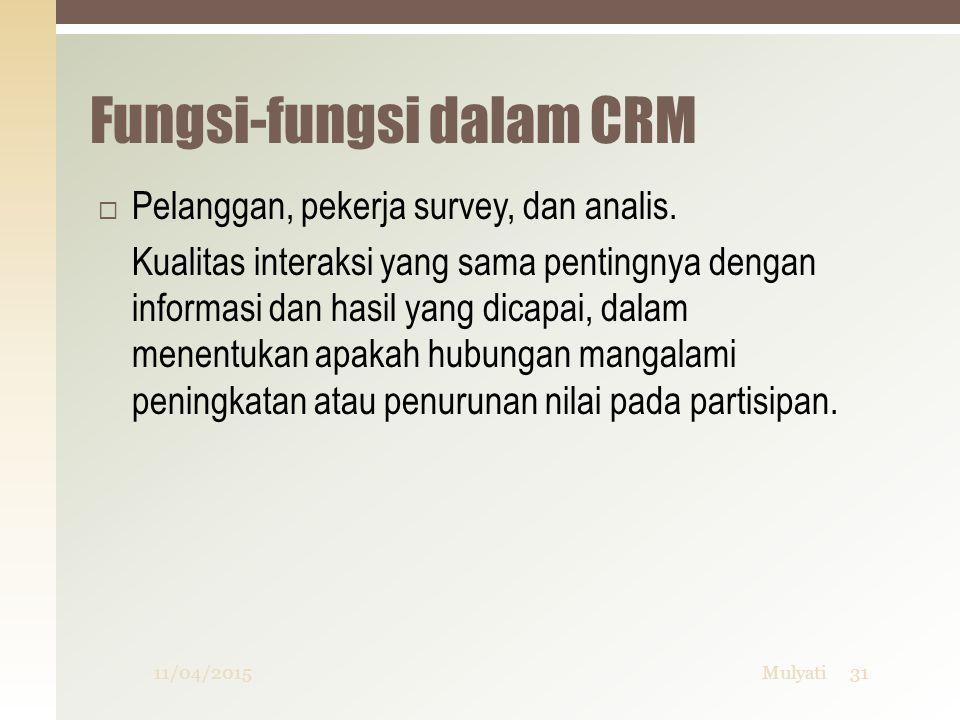 Fungsi-fungsi dalam CRM  Pelanggan, pekerja survey, dan analis. Kualitas interaksi yang sama pentingnya dengan informasi dan hasil yang dicapai, dala