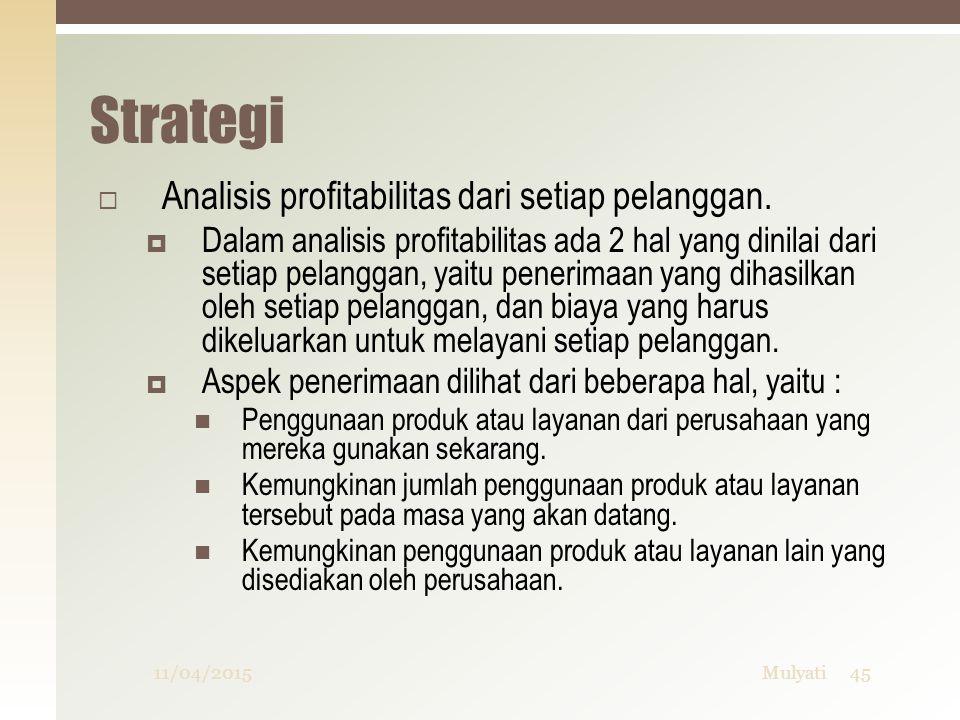 Strategi  Analisis profitabilitas dari setiap pelanggan.  Dalam analisis profitabilitas ada 2 hal yang dinilai dari setiap pelanggan, yaitu penerima