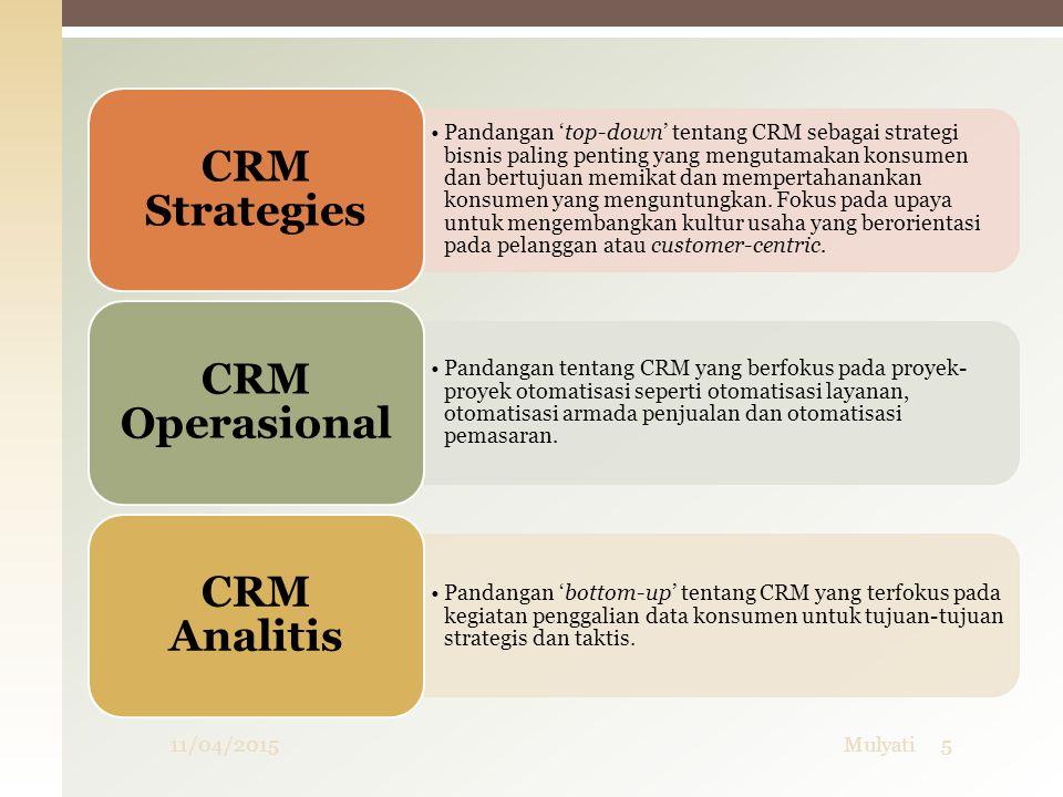 Tipe / variasi CRM  Analytical CRM  Analytical CRM menganalisa data pelanggan untuk berbagai keperluan : Merancang dan melaksanakan target kampanye pemasaran untuk mengoptimasi efektifitas pemasaran Merancang dan melaksanakan kampanye pelanggan tertentu, termasuk akuisisi pelanggan, cross-selling, up-selling, retensi Analisis perilaku pelanggan untuk membantu pengambilan keputusan produk dan layanan Manajemen keputusan Prediksi kemungkinan cacat pelanggan 11/04/201536Mulyati