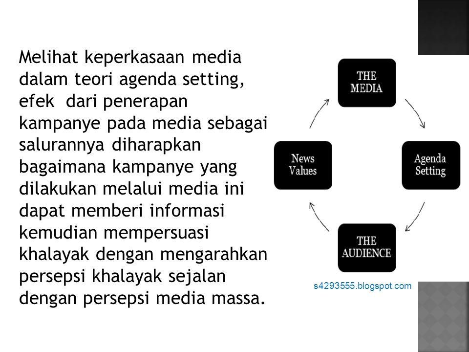 Melihat keperkasaan media dalam teori agenda setting, efek dari penerapan kampanye pada media sebagai salurannya diharapkan bagaimana kampanye yang dilakukan melalui media ini dapat memberi informasi kemudian mempersuasi khalayak dengan mengarahkan persepsi khalayak sejalan dengan persepsi media massa.