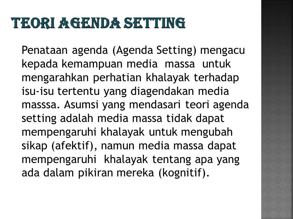 Penataan agenda (Agenda Setting) mengacu kepada kemampuan media massa untuk mengarahkan perhatian khalayak terhadap isu-isu tertentu yang diagendakan media masssa.