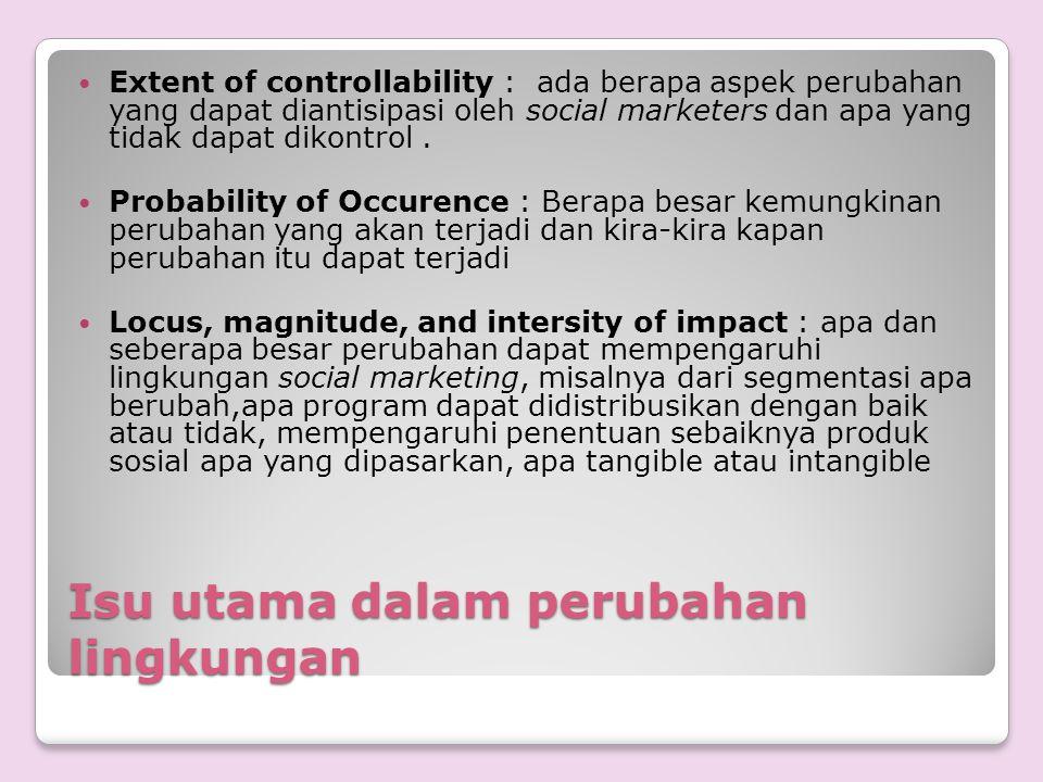 Isu utama dalam perubahan lingkungan Extent of controllability : ada berapa aspek perubahan yang dapat diantisipasi oleh social marketers dan apa yang