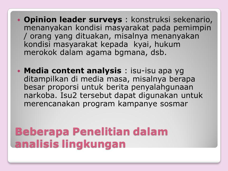 Beberapa Penelitian dalam analisis lingkungan Opinion leader surveys : konstruksi sekenario, menanyakan kondisi masyarakat pada pemimpin / orang yang
