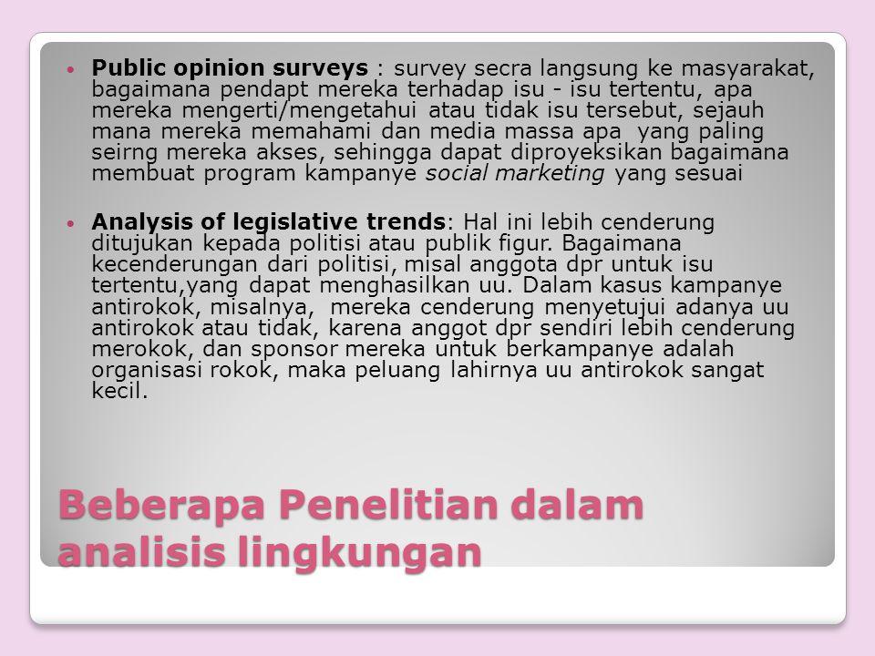 Beberapa Penelitian dalam analisis lingkungan Public opinion surveys : survey secra langsung ke masyarakat, bagaimana pendapt mereka terhadap isu - is