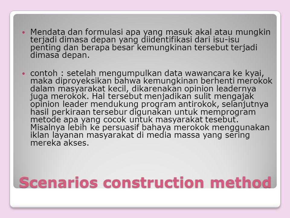 Scenarios construction method Mendata dan formulasi apa yang masuk akal atau mungkin terjadi dimasa depan yang diidentifikasi dari isu-isu penting dan
