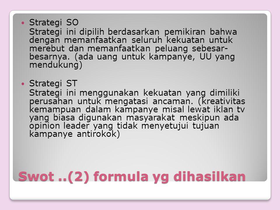 Swot..(2) formula yg dihasilkan Strategi SO Strategi ini dipilih berdasarkan pemikiran bahwa dengan memanfaatkan seluruh kekuatan untuk merebut dan me