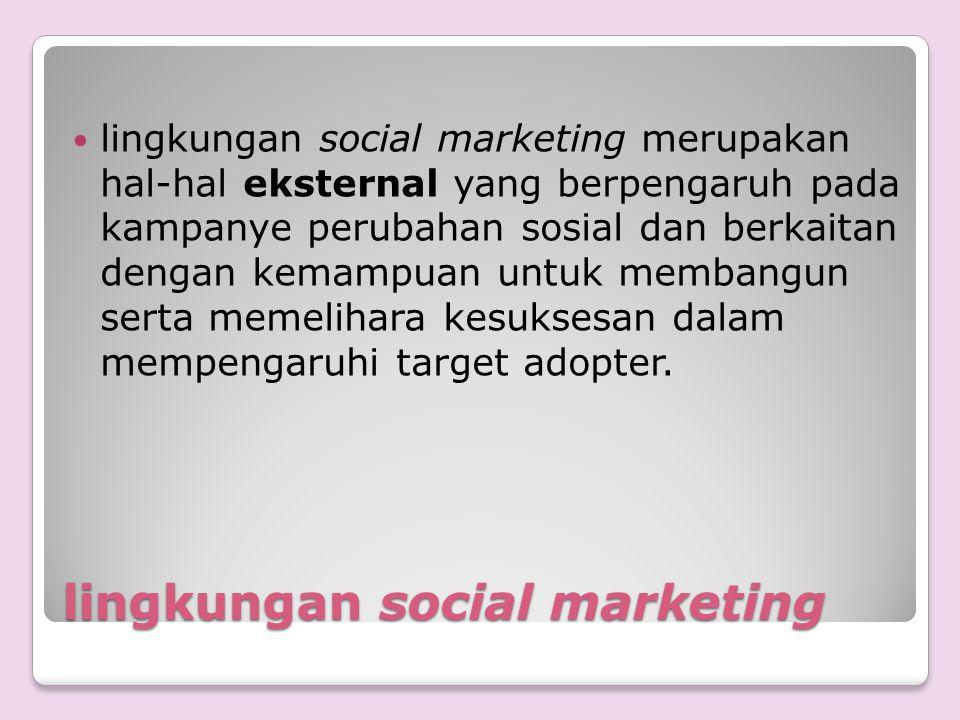 lingkungan social marketing lingkungan social marketing merupakan hal-hal eksternal yang berpengaruh pada kampanye perubahan sosial dan berkaitan deng