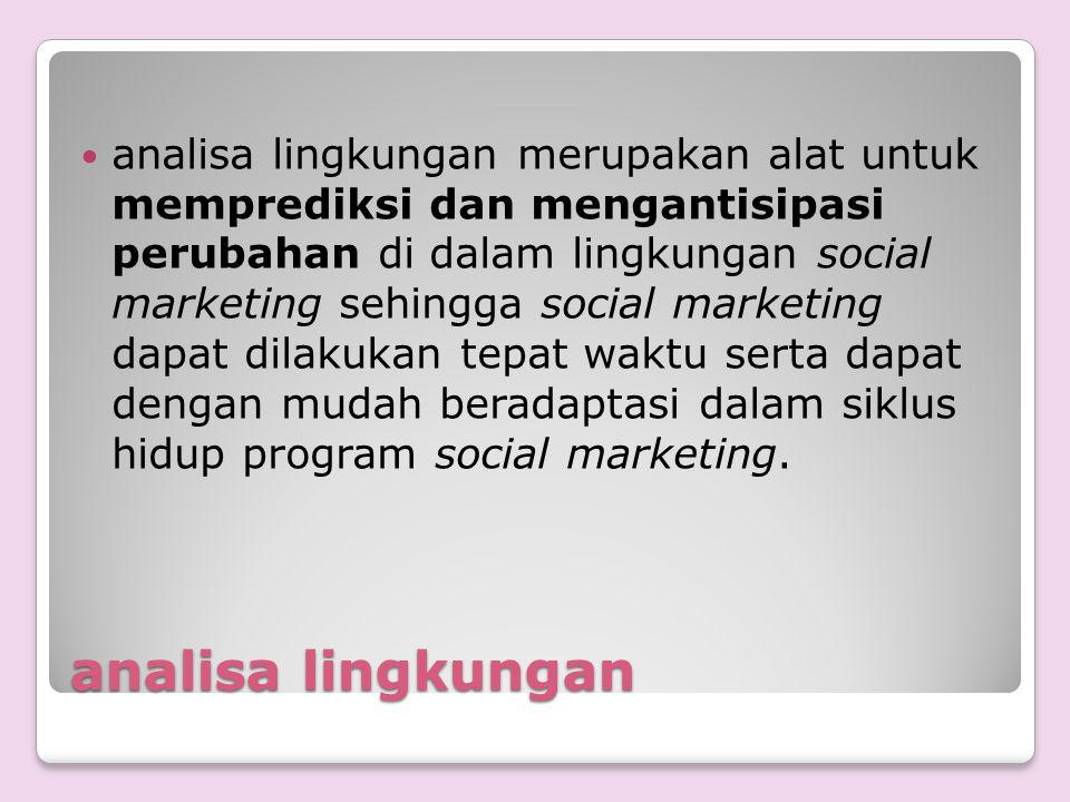 analisa lingkungan analisa lingkungan merupakan alat untuk memprediksi dan mengantisipasi perubahan di dalam lingkungan social marketing sehingga soci