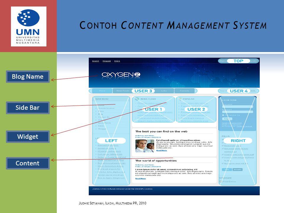 C ONTOH C ONTENT M ANAGEMENT S YSTEM J UDHIE S ETIAWAN, I LKOM, M ULTIMEDIA PR, 2010 Blog Name Side Bar Content Widget